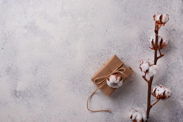 Zusammensetzung mit baumwollzweig und geschenkbox