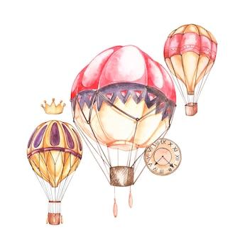 Zusammensetzung mit heißluftballonen und luftschiffen, aquarellillustration. element für die gestaltung von einladungen, filmplakaten, stoffen und anderen objekten.