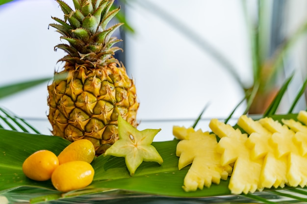 Zusammensetzung von exotischen früchten, von denen einige in form von vögeln geschnitten sind, andere sind ganz wie orangen und ananas.