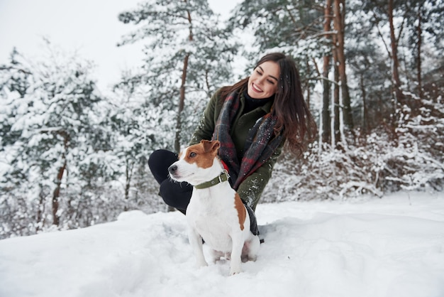 Zusammensitzen. lächelnder brunette, der spaß beim gehen mit ihrem hund im winterpark hat