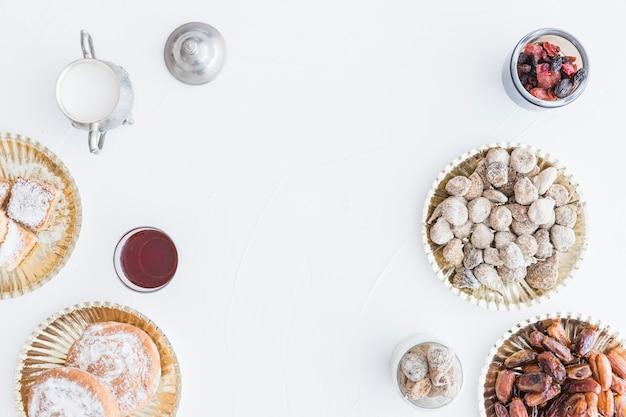 Zusammenstellung der bonbons und der teeschale.