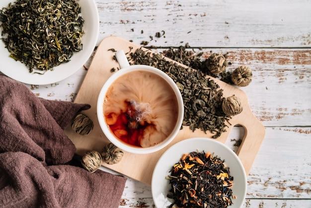 Zusammenstellung der draufsicht des tees und der teekräuter