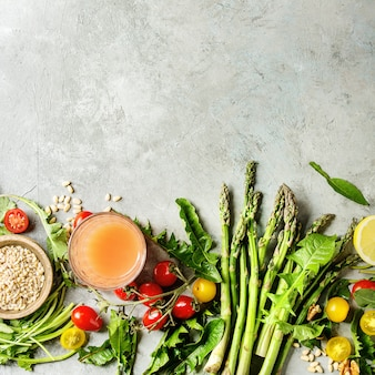 Zusammenstellung der vegetarischen nahrungsmittelbestandteile