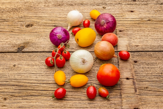 Zusammenstellung der verschiedenen arten zwiebeln und tomaten