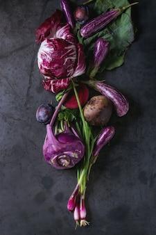 Zusammenstellung des purpurroten gemüses