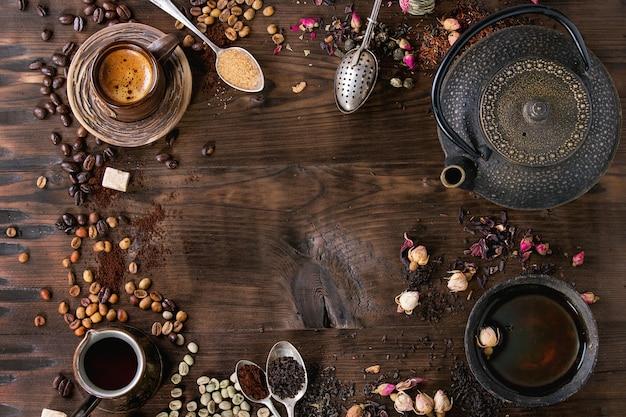 Zusammenstellung des tees und des kaffees als hintergrund