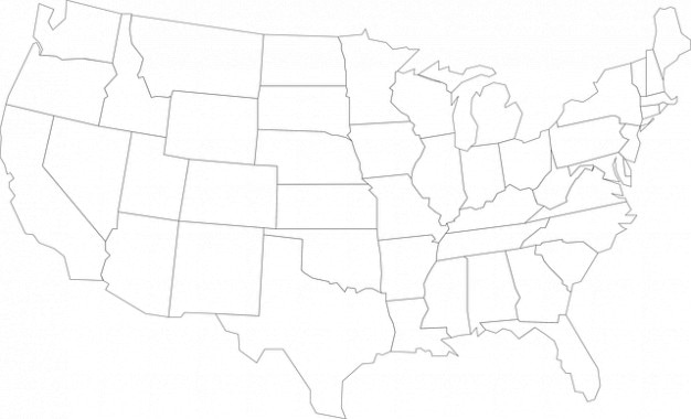 Zustände geographie united usa map outline