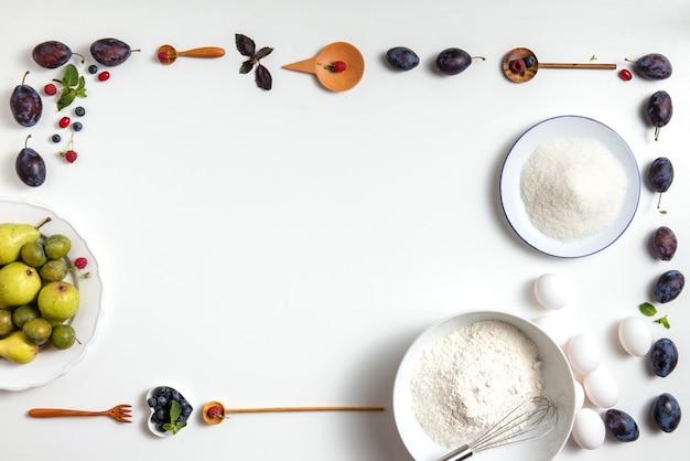 Zutaten auf einem tisch für den kuchen