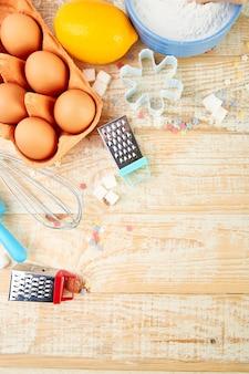 Zutaten backen oder kochen. bäckerei-rahmen