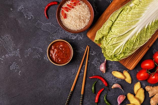 Zutaten für asiatisches scharfes essen