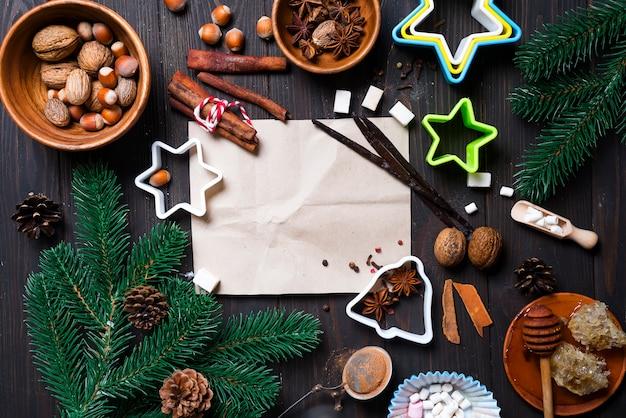Zutaten für das kochen von weihnachtslebkuchenplätzchen