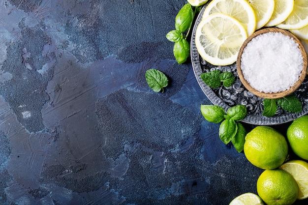 Zutaten für die cocktailherstellung