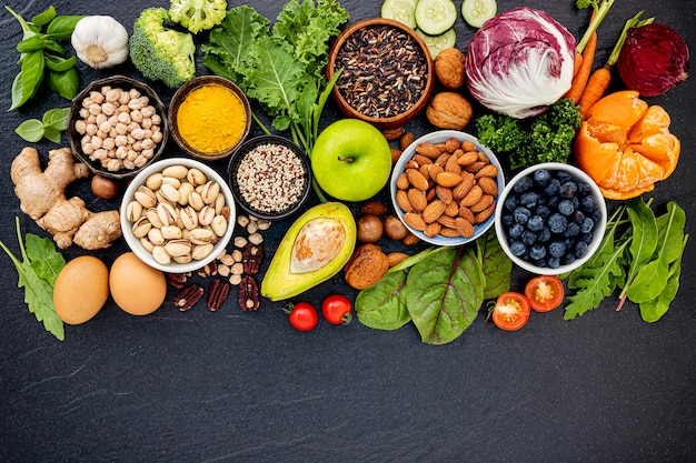 Zutaten für die gesunde lebensmittelauswahl.