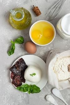 Zutaten für die herstellung von kuchen