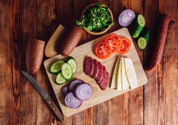 Zutaten für die herstellung von sandwiches