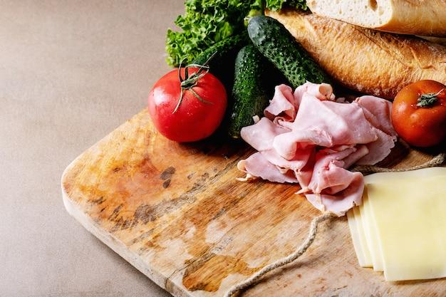 Zutaten für die sandwichherstellung