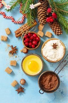 Zutaten für die weihnachtsbäckerei kakao preiselbeeren gewürze nüsse mehl und eier flach legen