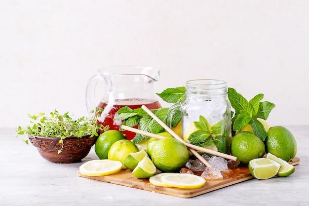 Zutaten für die zubereitung von eistee