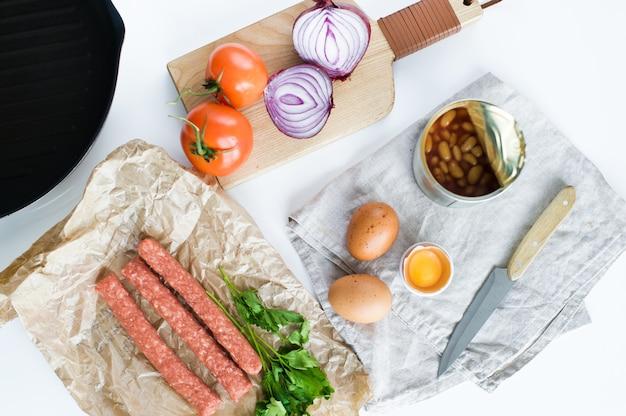 Zutaten für ein gesundes bio-frühstück.