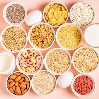 Zutaten für ein gesundes frühstück, draufsicht