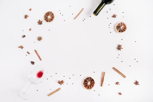 Zutaten für glühwein. weihnachtskomposition