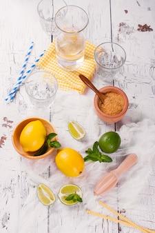 Zutaten für hausgemachte zitronen-limonen-limonade; glas, gläser, minze, zucker