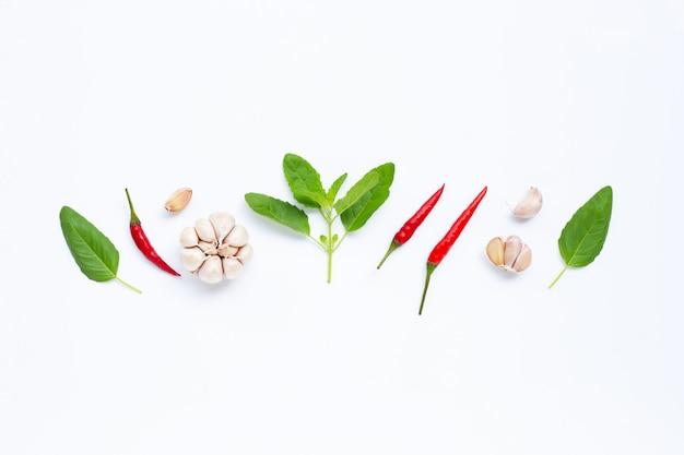 Zutaten kräuter und gewürze, basilikum, chili und knoblauch auf weiß