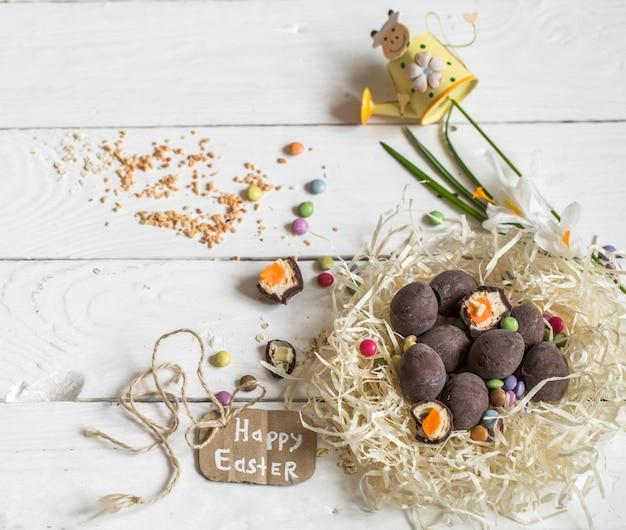Zutaten ostern und schokoladeneier