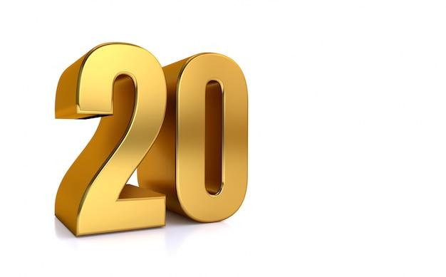 Zwanzig, 3d illustration goldene nummer 20 auf weißem hintergrund und kopienraum auf der rechten seite für text, am besten für jubiläum, geburtstag, neujahrsfeier.