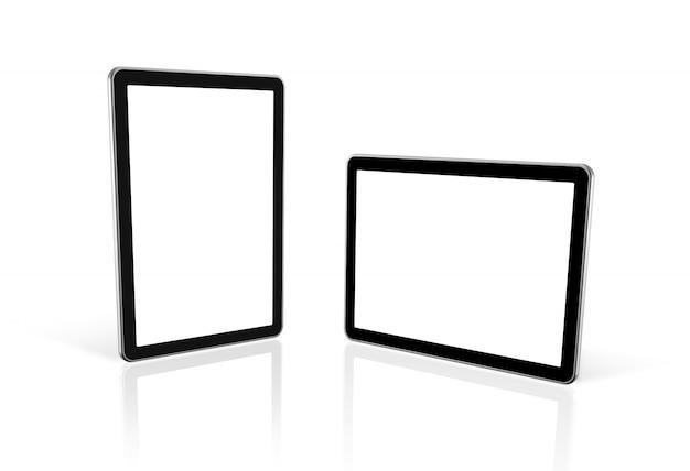 Zwei 3d computer, digitaler tablette-pc, fernsehbildschirm, getrennt auf weiß mit 2 ausschnittspfaden: einer für bildschirm und einer für globale szene