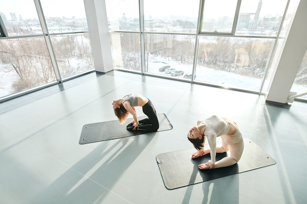 Zwei aktive mädchen in trainingsanzügen, die auf knien stehen, während sie sich während körperlicher bewegung für den bauch auf dem boden des fitnessraums nach hinten beugen