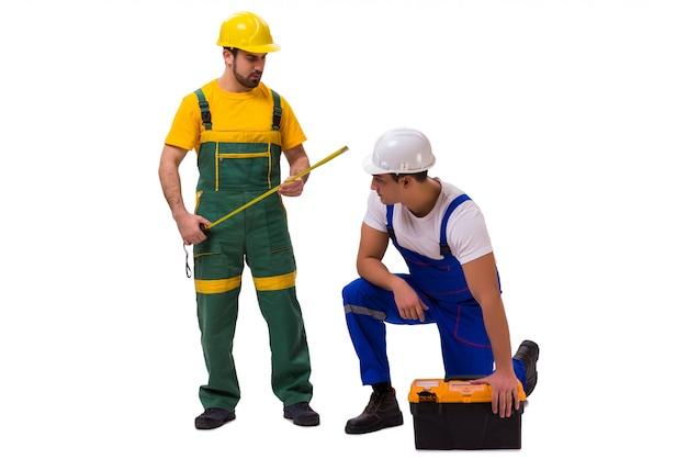 Zwei arbeiter isoliert