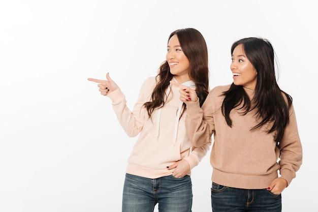 Zwei asiatische hübsche glückliche damenschwestern.