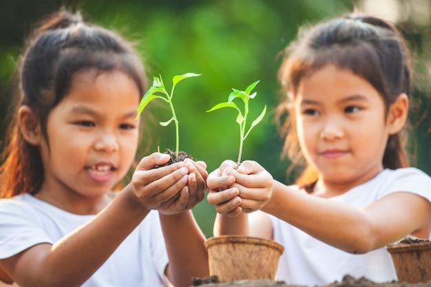 Zwei asiatische kindermädchen, die jungen baum für das pflanzen in recycelten fasertöpfen zusammen im garten halten