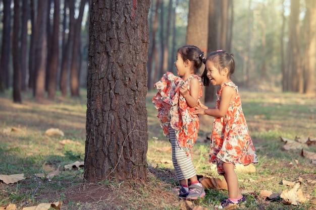 Zwei asiatische kleine mädchen, die spaß haben, im kieferpark im weinlesefarbfilter zusammen zu spielen