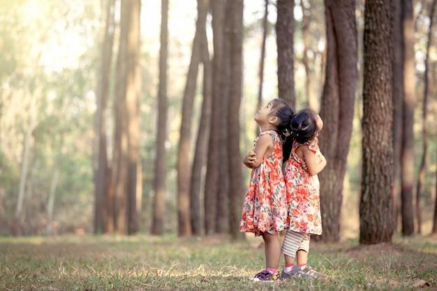 Zwei asiatische kleine mädchen drehen sich zurück in kieferpark. vintage-farbton