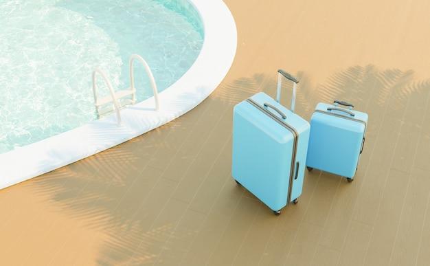 Zwei blaue koffer neben dem rand eines schwimmbades mit treppe und palmenschatten. 3d-rendering