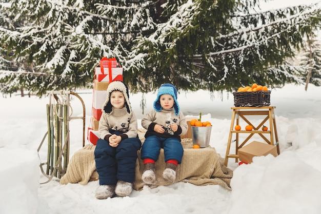 Zwei brüder jungen mit geschenkboxen, mandarinen und schlitten im freien. winterweihnachtsaktivität