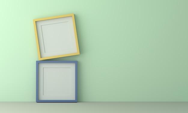 Zwei bunte bilderrahmen zum einfügen von text oder bild innen auf pastell hellgrüne farbwand.