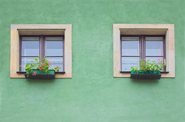 Zwei fenster in einer grünen wand