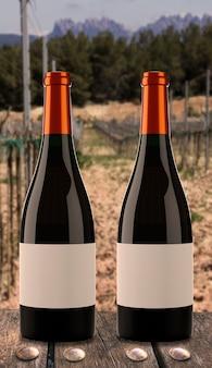 Zwei flaschen wein mit weinberghintergrund.