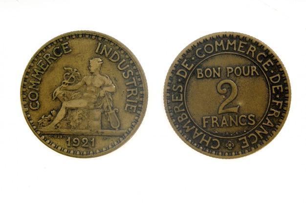 Zwei franken, französische münze,