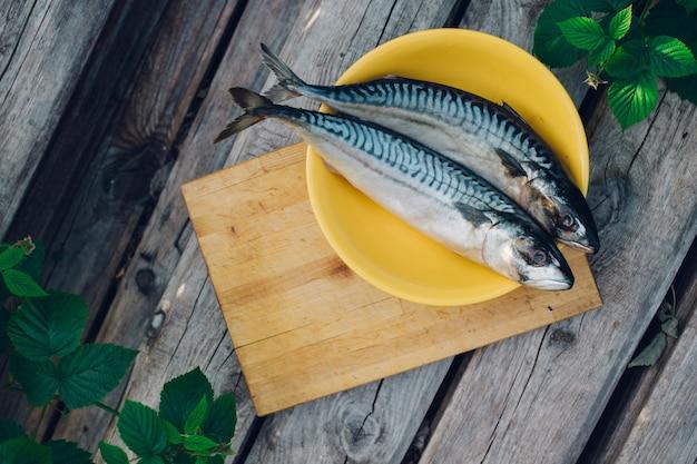 Zwei frische fische auf einem schneidebrett, makrele kochend, nah oben fischschwänze