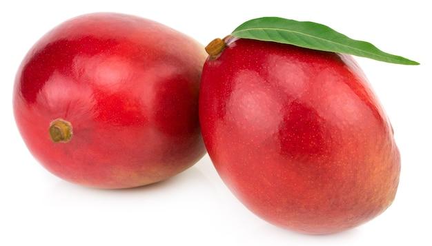 Zwei ganze mangos mit grünem blatt lokalisiert auf weißem hintergrund clipping path.
