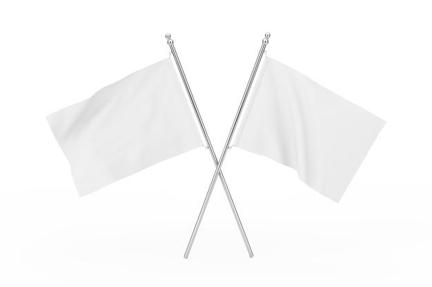 Zwei gekreuzte weiße leere flaggen auf weißem hintergrund. 3d-rendering