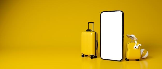 Zwei gelbe gepäckstücke mit reiseaccessoires und smartphone in gelb