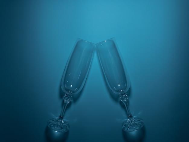 Zwei gläser, um sich auf türkisfarbenem hintergrund zu treffen. festliches romantisches konzept.