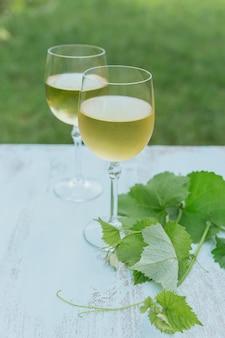 Zwei gläser weißwein mit weinblättern auf hellblau