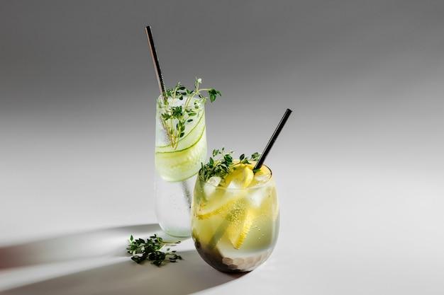 Zwei glas mit cocktail. sommergetränke mit frischen zitrusfrüchten und eis.