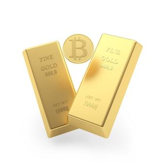 Zwei goldbarren und bitcoin-münze